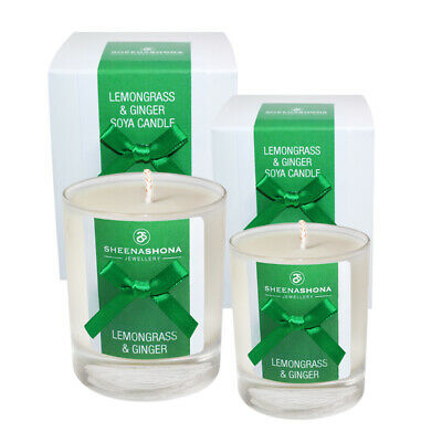 Medium & Small Soya Wax Luxury Hand Poured Scented Candles - Lemongrass & Ginger