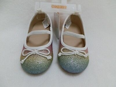 f1d3b279dba Gymboree Girls Rainbow Glitter Bow Ballet Flats Mary Janes Shoes Toddler 6
