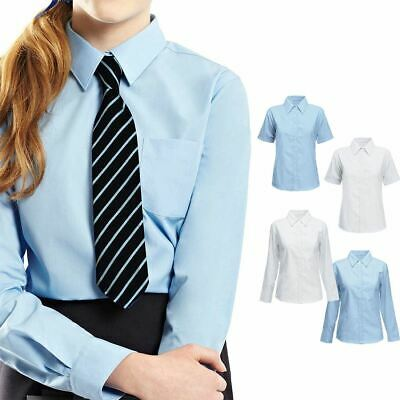 5fa64b477 Kids Girls Collared Blouses Shirts School Uniform Short Sleeves Smart Wear  Top