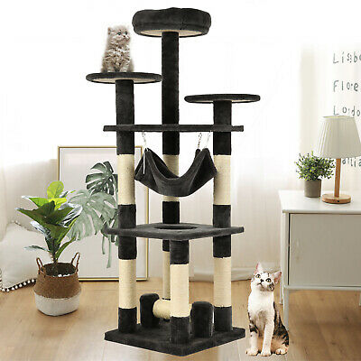 "52"" Cat Tree Condo Climbing Tower Scratching Kitty Play House w/ Hammock Gray"