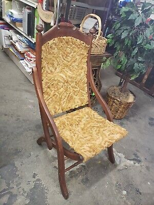 Antique Hand Carved Folding Chair Victorian Style !Beautiful! Fixerupper!