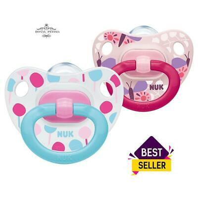 NUK Baby Dummy Pacifier Kids Silicone Soothers Size 2 Girls 6-18 months 2 PACK