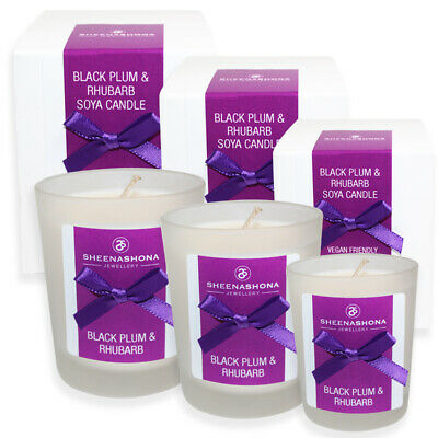 Large Medium Small Soya Wax Hand Poured Scented Candles Black Plum & Rhubarb