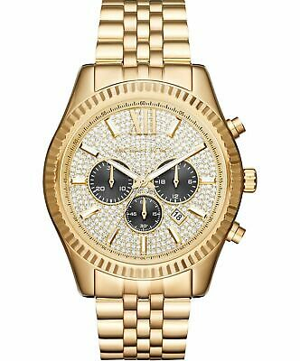 NEW Michael Kors Watch MK8494 Men's Lexington Chronograph Crystal Gold-Tone