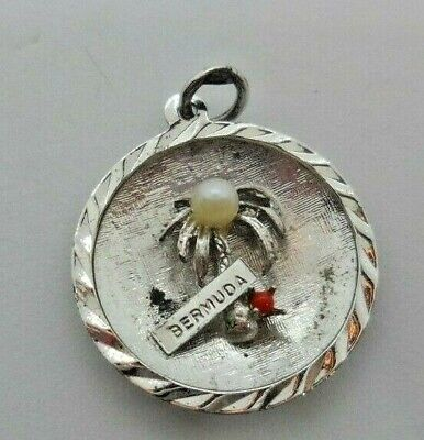 Sterling Silver 3D 21x14mm says Bermuda on Coconut Palm Tree Travel Charm