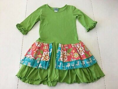 a3f6b633bcb94 sweet petunia boutique girls size 7 3/4 sleeve green ruffle dress spring  Easter