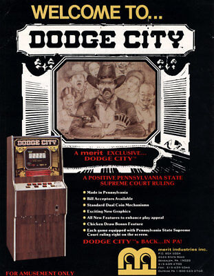 Merit DODGE CITY 1988 NOS Original Video Poker Arcade Game Machine Sales Flyer