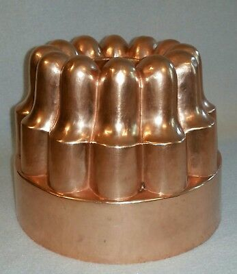 "Antique 19th Cent. French Copper Fluted Jelly Pudding Aspic Mould Mold 5-1/4"" h."