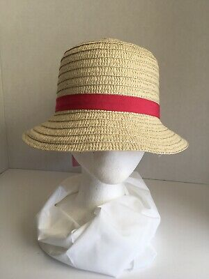 c9711243b65 New Girls Age 3+ Bucket Straw Easter Hat Tan W  Dark Pink Band