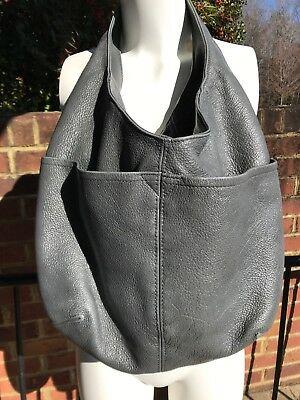 3e3fbb53dc Fgalaze Gray Grey Pebbled Leather Slouchy Hobo Bag Made In US Shoulder Purse  EUC