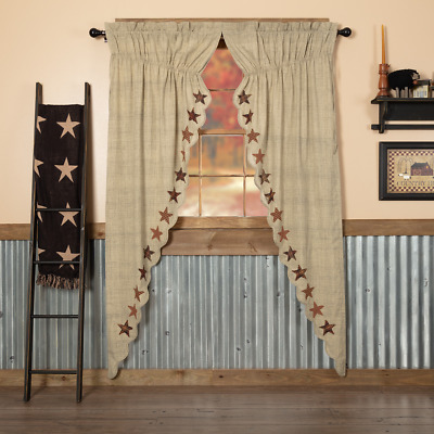 Abilene Star Scalloped Cotton Primitive Country Window Long Prairie Curtains