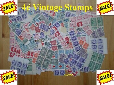 Lot of 100 x 4¢ Vintage Stamps Mint with FULL Gum - 99¢ Postage Canada