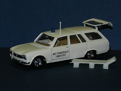 """MODIFIED  SOLIDO 1/43 PEUGEOT 504 ESTATE """"MC FUNERALS""""  with stretcher  BOXED"""