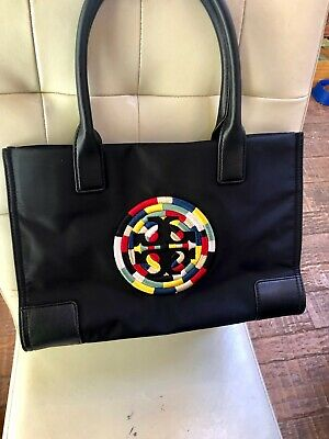 23d83342ca08 AUTHENTIC TORY BURCH Ella Embroidered Rope Logo Tote in Black  258 ~ LARGE