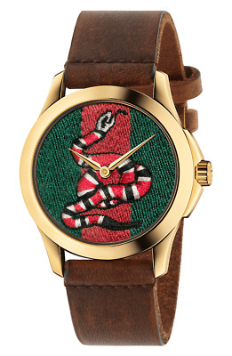 c4326584686 Gucci G-Timeles YA1264012 Le March Des Merveille Snake 38mm Leather Watch  NEW