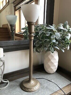 Vintage Victorian Boudior Up Light Vanity Table Lamp Torchiere Electric Antique