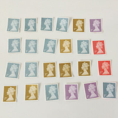 100 x 1st Class Used Unfranked Stamps Off Paper NO GUM