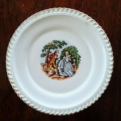 2 Vintage China 22 KT. Gold Collectible Plates (Godey print)- Harker Pottery Co