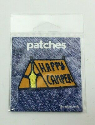 Badge Bomb Orange Happy Camper Tent Iron Adhesive Patch, Free Shipping