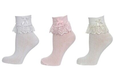1/3/6/ X Pairs Girls Frilly Lace Ankle Wedding Socks in Cotton Footwear Jester
