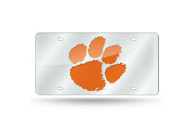 Clemson Tigers Silver Mirror Car Tag Laser License Plate Auto University Car