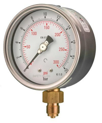 100mm Pressure Gauge - Bottom Entry Dry Fillable 1% Acc