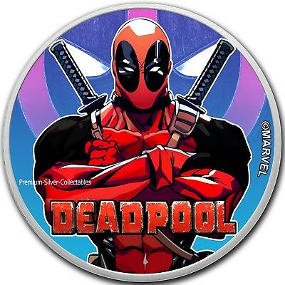 2018 Tuvalu Marvel Series Deadpool!  .9999 - 1 Ounce Pure Silver Colorized !!