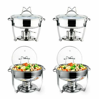 4 Pack Culinary Edge Stainless Steel 4QT Round Chafing Dish Set with Glass Cover