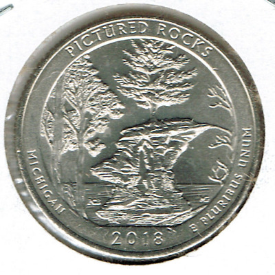 2018-P Brilliant Uncirculated Pictured Rocks National Lake shore 25 Cent Coin!