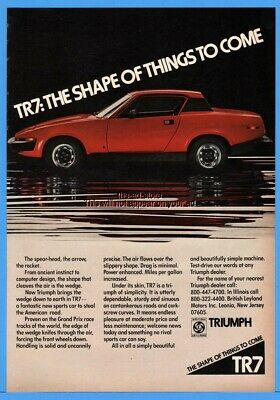1976 TRIUMPH TR7 The Shape Of Things To Come Red Coupe Sports Car Print Ad