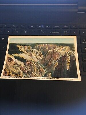 Vintage Postcard; Looking down Grand Canyon From Grandview , Yellowstone