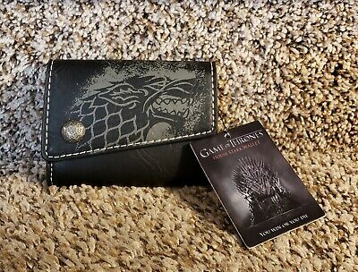 HBO's Game of Thrones HOUSE STARK Leather Wallet w/ Tags Direwolf House Sigil