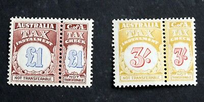 1944 Australia £1 & 3/- INCOME TAX revenue stamps, complete pairs MNH