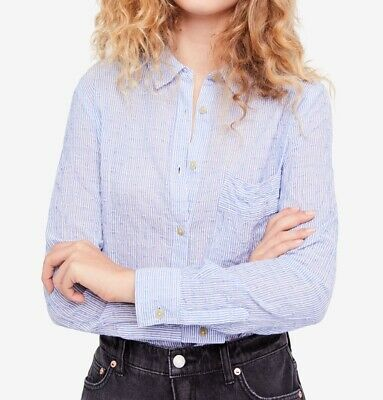13a507ddc Free People NEW Blue Womens Size XS Striped Sheer Button Down Shirt $98 319