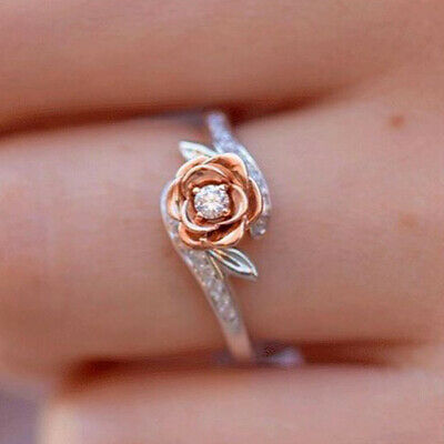 Exquisite Two Tone 925 Silver Floral Ring 14k Rose Gold Flower Wedding Jewelry