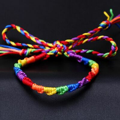 LGBT Gay&Lesbian Pride Rainbow Braided Silk Cotton Cord Bracelet Bangle Cool