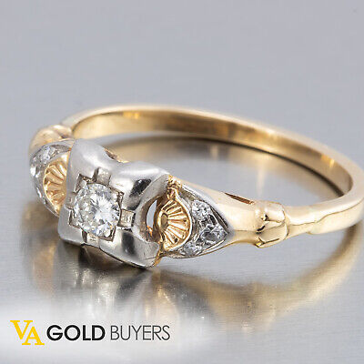4c23196f1 1910s Vintage Edwardian Platinum Topped 14k Diamond Engagement Ring -  0.15ctw
