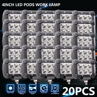 20PCS 4inch 18W Pods Work Lamp Offroad Truck Spot Beam SUV 4WD ATV For JEEP FORD