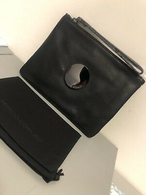 Mimco Black Gunmetal Medium Waver Pouch Wallet Cow Leather Rrp$99.9