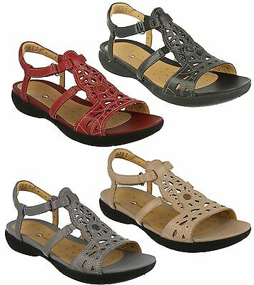 6e4745f7fbbd Ladies Clarks Leather Open Toe T Bar Riptape Wedge Summer Sandals Un  Valencia