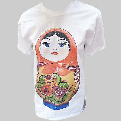 MATRYOSHKA RUSSIAN DOLL POP ART PARTY T-SHIRT unisex white S-3XL
