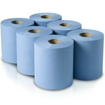 6 x Blue Paper Rolls - 2 Ply Embossed Center Feed -Best Hand Towel Tissue Rolls