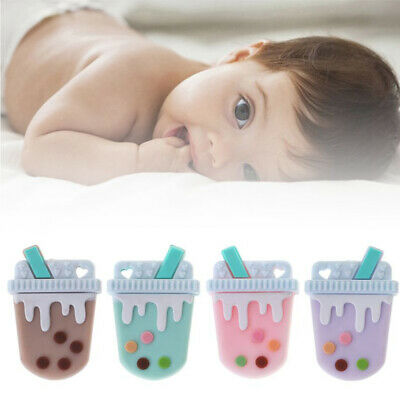 Milky Tea Food Grade Silicone Beads Teething Pendant Necklace Baby Teether Hot