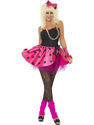Womens Ladies 80S Fancy Dress Gloves Skirt Neon Pink Tutu Instant Kit Costume