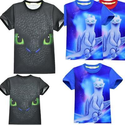 How to Train Your Dragon- Kids Boys Girls Short T-Shirts Tops Soft Cotton Tee AU