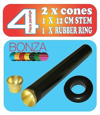 Bonza pipe12cm with 2X cone piece - 4 Piece set  cone pieces Bong / water pipe