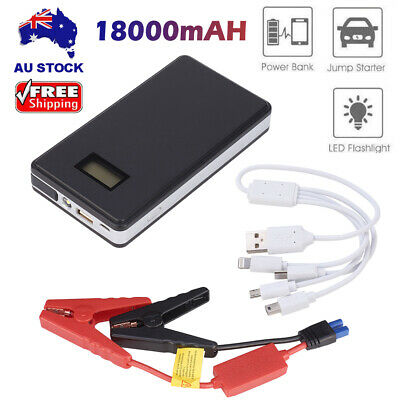 18000mAh Power Bank Charger LCD Vehicle Car Jump Starter Booster Battery Black
