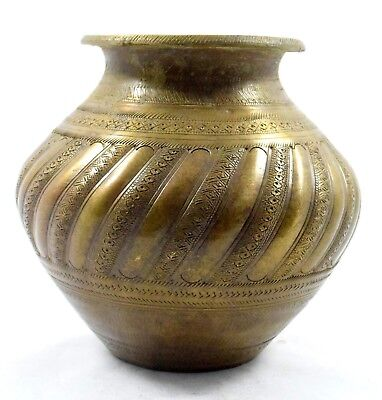 India Handcrafted Antique Beautiful Hindu Brass Water Pot/Lota/vessel.G56-102 AU