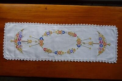 Vintage Table Runner Hand Embroidered Doily Ecru Cotton Flowers Umbrella 88x30cm