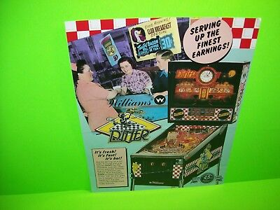 Williams DINER 1990 Original Flipper Game Pinball Machine Promo Sales Flyer